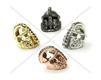 CZ Pave Bead, Knight Helmet Bead, 15x11mm, Black Cubic Zirconia Pave Bead, 1 Piece, CB128
