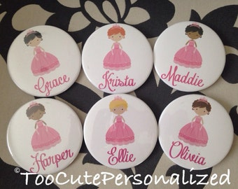 Set of 5 Personalized Princess Pins / Buttons