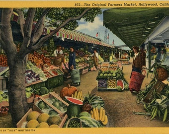 Original Farmers Market Hollywood California Vintage Postcard (unused)