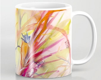 Springtime Flowers Mug (Original Watercolor Pattern-11oz or 15oz) Coffee Mug, Coffee Cup, Florals Watercolor, Cermaic, Art Lover Gift