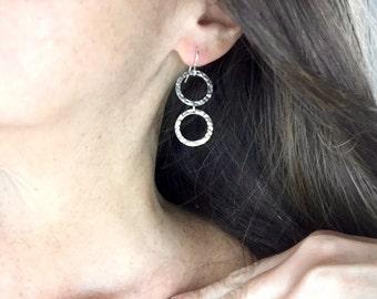 Sterling Silver Double Circle Earrings, Eternal Love Earrings, Hammered Circle Earrings, Simple Silver Earrings,Wear with Anything Earrings