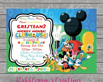 Mickey Mouse Birthday Invitation - Mickey Mouse Club House Invite - Printable - Digital Invitations