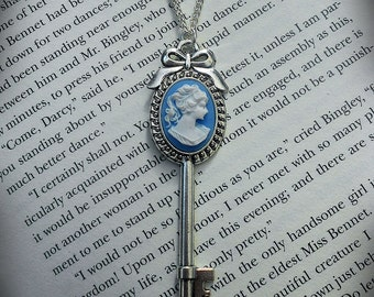 Victorian Cameo Key Necklace
