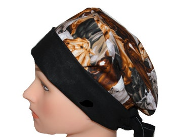Surgical Scrub Hat Scrub Chef Doctor Vet Nurse Cap Flirty Front Fold Pixie Brown Western Horses Black White  2nd Item Ships FREE