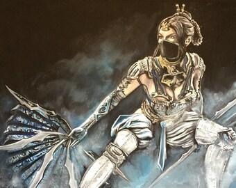 Kitana mortal kombat oil painting