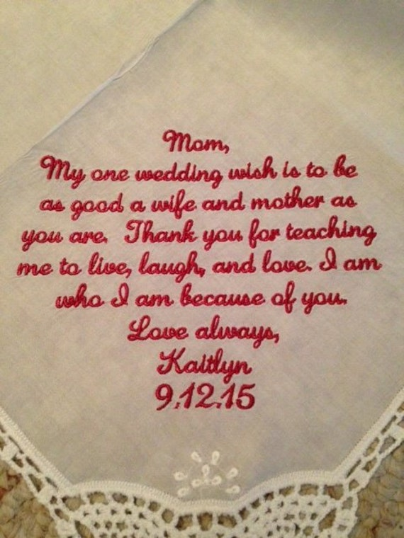 Wedding Gifts For Parents Handkerchief : ... embroider personalize wedding gift for parent - bridal handkerchief
