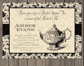 Bridal Shower Tea Invitation, Black and Cream Bridal Tea Party Invite, Bridal Shower Brunch in Black and Cream, Printable or Printed