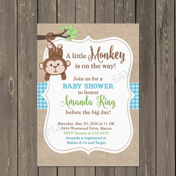 baby boy monkey shower invitation baby boy shower invite any colors