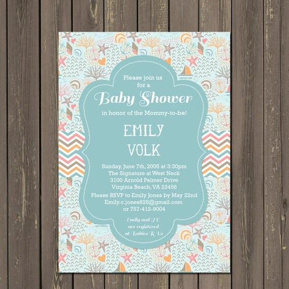 Ocean baby shower invitation beach baby shower invite shell baby il570xn filmwisefo