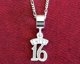 Sweet 16 Birthday Solid 925 Sterling Silver Pendant and Chain