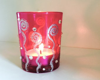 Recycled Pink Glass Votive Holder