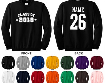 Class of 2016, 17, 18, 19, 20 arched with stars personalized, choose the year name & number graduation college school crewneck sweatshirt