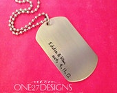 Customizable personlized dog tag necklace with names and anniversary date Stainless Steel