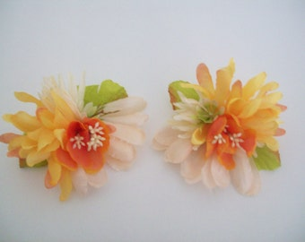 Unique Blush and Peach Flower Earrings