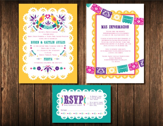 Mexican Wedding Invitation Set Digital