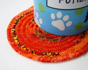 Handmade Orange Coiled Mug Mat