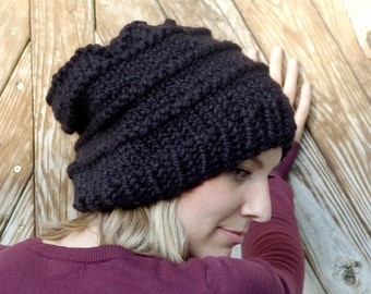 READY TO SHIP: Soft Wool Chunky Knit Slouchy Hat in Black - Heritage Hat