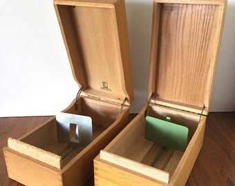 Industrial Wood Card File Box