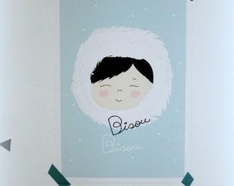Print- Bisou Bisou eskimo print- Kids prints,kids decor-