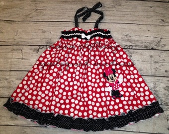 Disney Inspired Appliqued Minnie Mouse Embellished Sweetheart Halter Dress sizes 6 months - 16