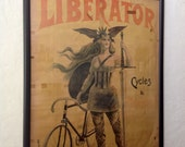 "French ""Liberator"" Bicycle Motorcycle Poster, circa 1900"