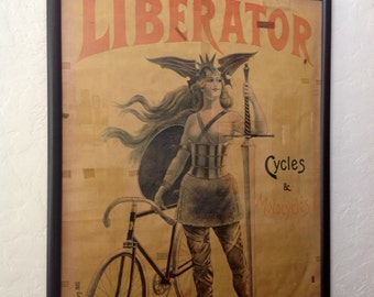 """French """"Liberator"""" Bicycle Motorcycle Lithograph Poster, circa 1900"""
