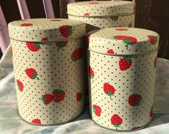 Vintage Farmhouse Strawberry Canistes