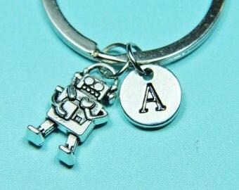 Robot Charm Keychain, Robot Key ring, Robot charm, Robot Jewelry, Initial Keychain, Personalized Keychain, Custom Keychain