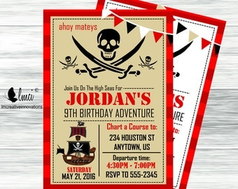 Pirate Birthday Invitation, Ahoy Mateys - Digital File