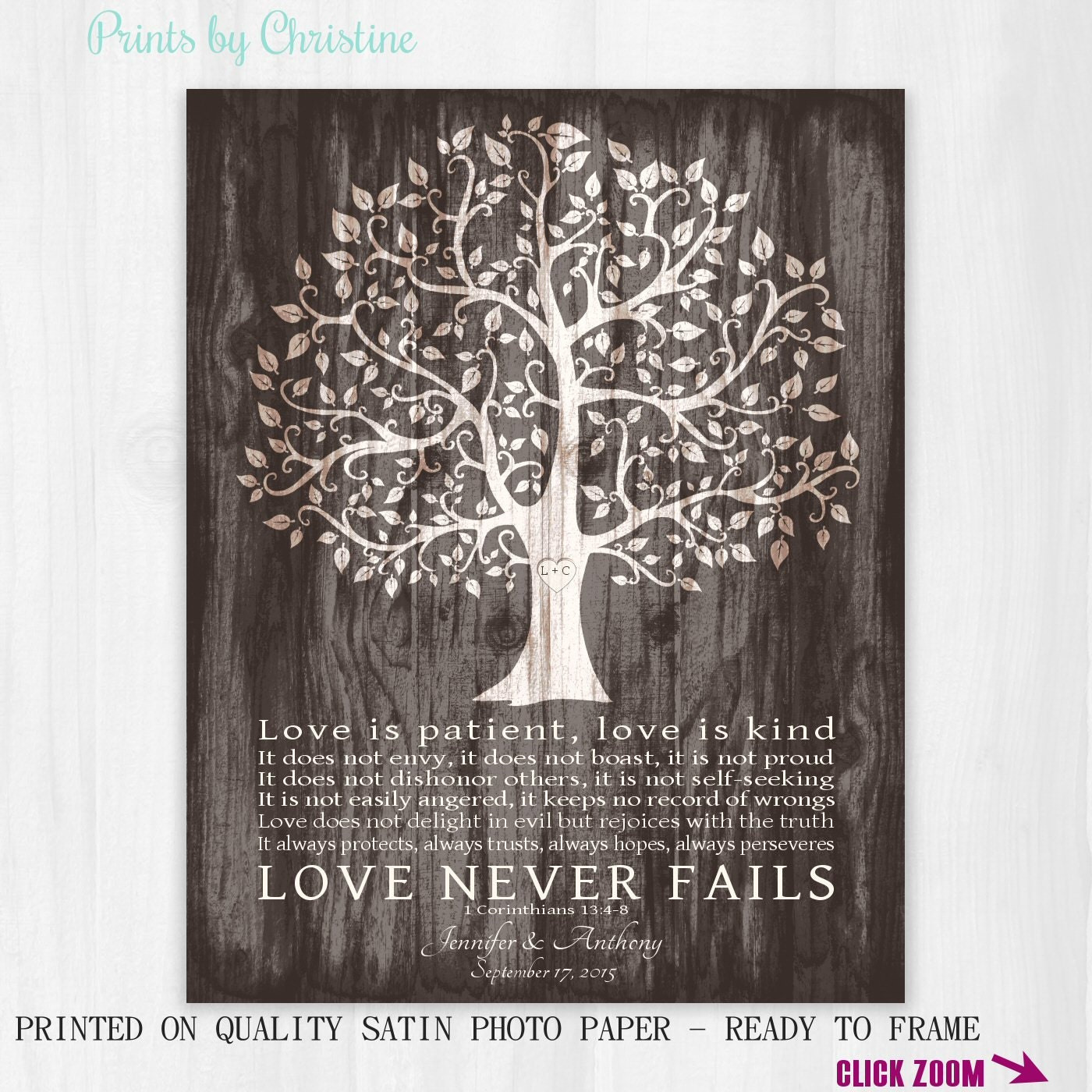 Personalized Wedding Gifts For The Couple : Personalized Wedding Gift for Couple Love is Patient Print 1