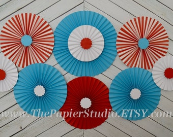 Dr. Seuss Inspired, Turquoise and Red, Set of Nine (9) Paper Rosettes