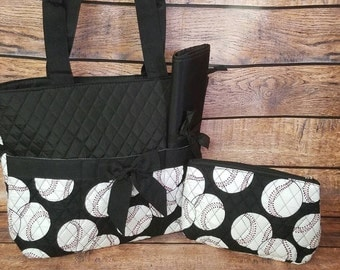 Personalized Baseball Quilted Diaper Bag, with added name or monogram