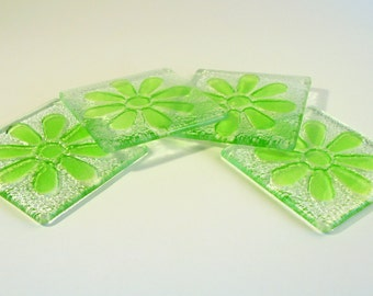 Green Flower Daisy Coasters-FREE UK SHIPPING-Set of 4 Fused Glass Lime Green Daisy Coasters
