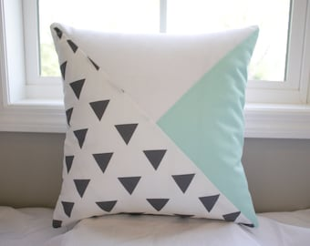 Modern Geometric pillow cover with triangles - gray/mint/white