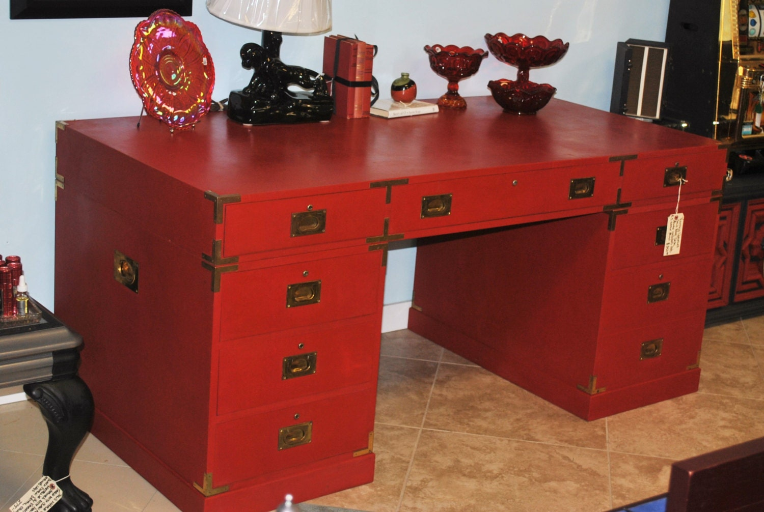 Vintage upcycled asian inspired 3 piece solid wood for Asian inspired desk