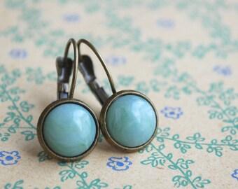 """Jade green  """"""""  mint pastel green Cabochon Earrings"""