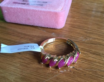 Vintage Gold Plated Sterling Silver and Ruby Ring, sz 8.5