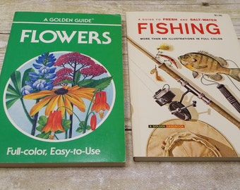 Set of 2 Golden Guides, Flowers, fishing,