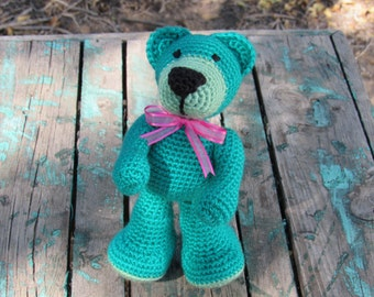 Amigurumi Crocheted Stuffed Teddy Bear (Green, pink ribbon)
