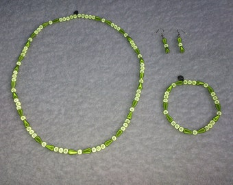 Handmade TWO-TONE GREEN Miracle Illusion 3D Beaded Necklace Bracelet & Earrings Set