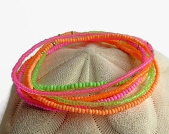 7 seed bead bracelets, neon bracelet, stretch bracelet set, orange green pink, beaded bracelet
