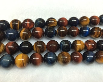 10mm Round Tigereye Beads Genuine Natural Multicolor Natural 15''L 38cm Loose Beads Semiprecious Gemstone Bead   Supply