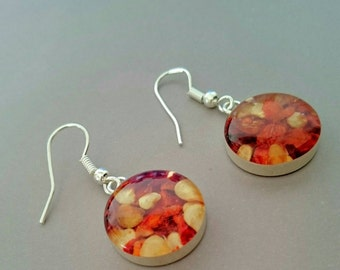 Chilli Flakes Earrings -  silver-plated with sterling silver hooks,handmade jewelry, design from natural materials