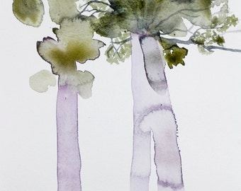 tree study no. 3 . original watercolor painting