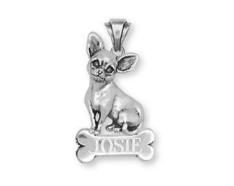 Chihuahua Personalized Pendant Jewelry Sterling Silver Chihuahua Charms And Jewelry CHW1-NP