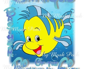 Brother Of the birthday girl Flounder from Little Mermaid iron on
