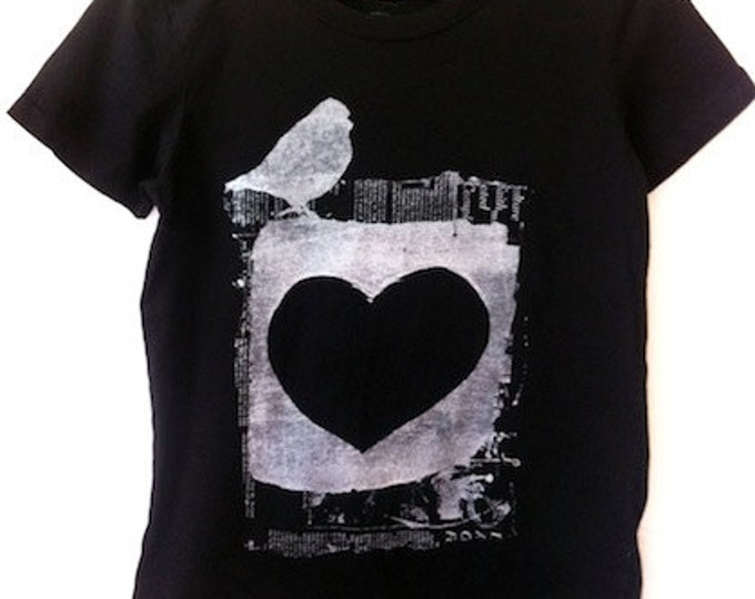 Short sleeve Adult Unisex T , free spirit heart & bird , vintage soft cotton