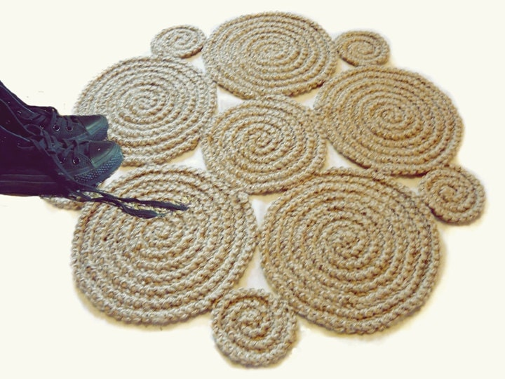 Small Flower Crochet Rug Natural Jute Rug Braid Rug by GreatHome