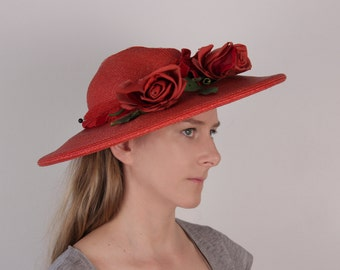 Vintage 1940s red straw hat wide brim roses