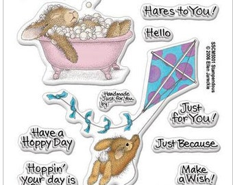 Stampendous HOPPY MOMENTS Clear acrylic stamp set bunny rabbit bath kite cc02 CS072